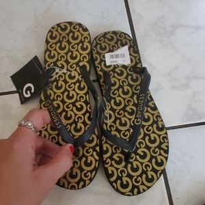 NWT, G by Guess gold logo sandals